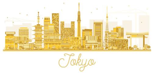 Tokyo Japan City Skyline Golden Silhouette.