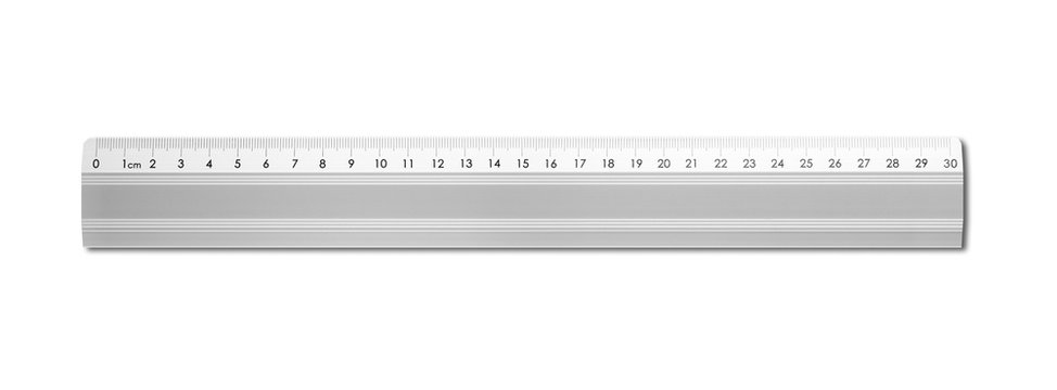 Metal ruler isolated on white background
