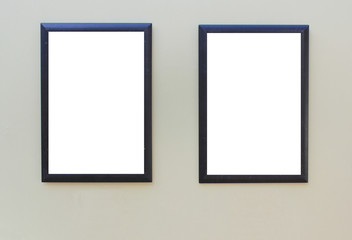 Two Black Frames with Empty White Copy Space Isolated on Gray Background. Blank Simple Template Mock Up Set Design, Display Showcase on Gallery Wall. Boarder Frame Isolated  Canvas Background.