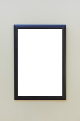 Boarder Frame with Empty White Copy Space Isolated on Gray Background. Blank Simple Template Design, Display Showcase Picture on Museum Wall. Simple Black Frame Surface Isolated on Classic Background.