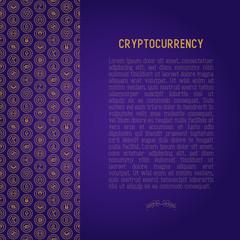 Cryptocurrency concept with thin line icons: Bitcoin, Ethereum, Ripple, Litecoin, Dash, NEM, ubiq, IOTA, Monero. Modern vector illustration for banner, web page, print media.