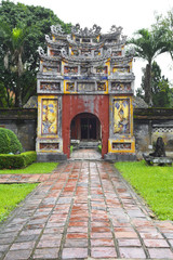 The gate to The To Mieu and Hung To Mieu Complex in the Imperial City, Hue, Vietnam