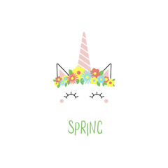 Hand drawn vector portrait of a cute funny unicorn with flowers, text Spring. Isolated objects on white background. Vector illustration. Design concept for children.