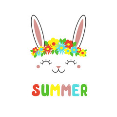 Hand drawn vector portrait of a cute funny bunny with flowers, text Summer. Isolated objects on white background. Vector illustration. Design concept for children.