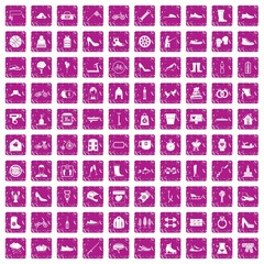 100 shoe icons set grunge pink