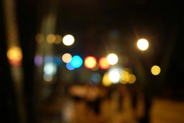 Night city street Bokeh lights background.Blur light bokeh abstract background