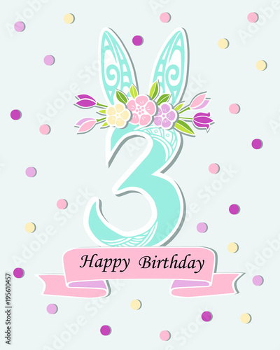 Vector illustration with number three bunny ears and floral wreath vector illustration with number three bunny ears and floral wreath template for birthday maxwellsz
