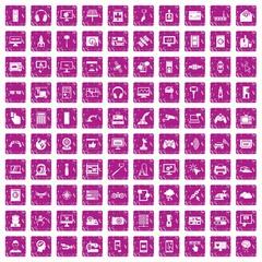 100 software icons set grunge pink