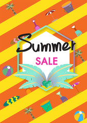 Summer Sale vector banner template with summer accessories illustration.