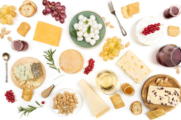 Various types of cheese with wine on a white background