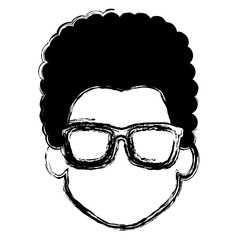 young man head with glasses avatar character