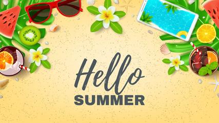 Hello Summer vacation web banner