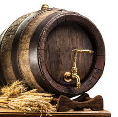 Wall Mural - Beer barrel with bunch of wheat on the wooden table. Clipping path.