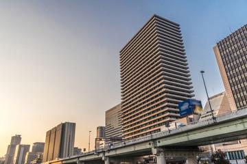 Osaka cityscape - Nakanoshima district at dusk - Osaka Japan