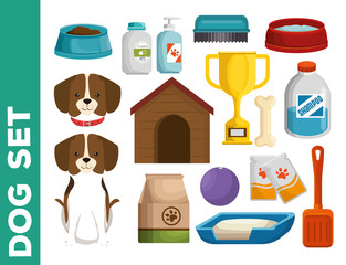 pet shop dog set icons