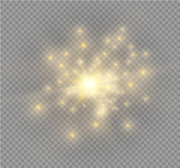 White sparks and golden stars glitter special light effect. Vector sparkles on transparent background. Christmas abstract pattern. Sparkling magic dust particles.