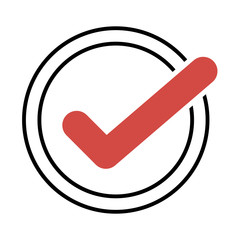 Red tick. Red check mark. Tick symbol, icon, sign in black color. Done.