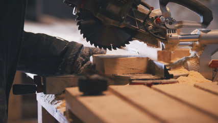 Worker carpenter figuring wooden board before circular saw sawing