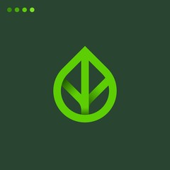 Minimalist vector gradient logo of leaf. Natural energy design template
