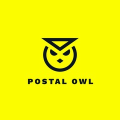Minimalist line logotype of postal owl in the form of an envelope with shadow and gradient. Message and communication concept