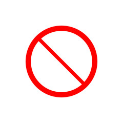 No sign. Prohibition Sign. Flat vector illustration. Red circle.