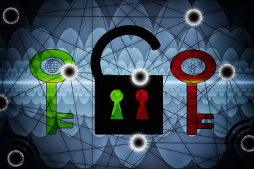 Cyber Security - Two Keys Encryption - Abstract Illustration