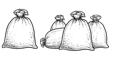Canvas money sack illustration, drawing, engraving, ink, line art, vector