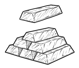 Gold bar illustration, drawing, engraving, ink, line art, vector