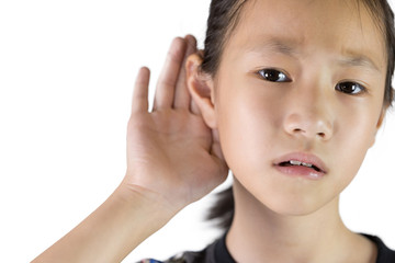 Asian girl listening by hand's up to the ear isolated on white background,Children with Hearing Impairment.