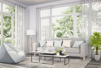 3D rendering of interior modern room and green landscape in window.