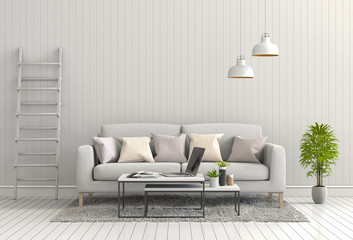 3D rendering of interior modern living room with sofa