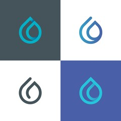 Vector illustration of water drop logo. Gradient droplet icon. Nature energy design element