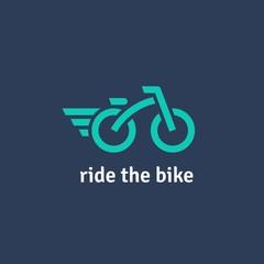 Fully editable flat logotype. Minimalist vector logo of bicycle