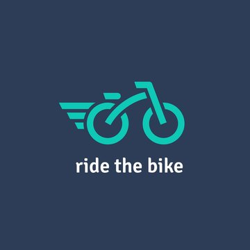Fully editable flat logotype. Minimalist vector logo of bicycle