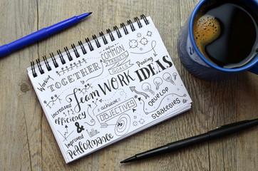 TEAMWORK Sketch Notes on notepad on desk