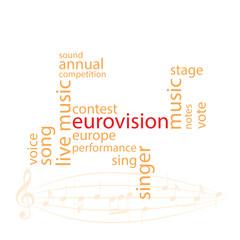 vector word collage in orange color - eurovision song contest