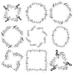 vector decorative music frames with notes - oval square round