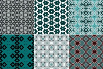 Set of light turquoise cyan blue patterns. Seamless textile paper imprint design.