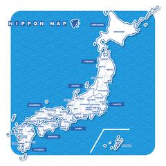 ニホン地図 白地図(英語)