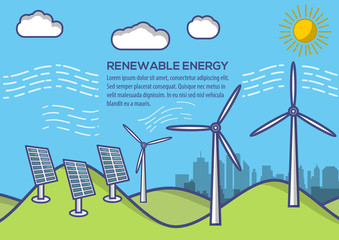 Renewable energy. Green energy industrial concept background. Vector illustration in flat style.