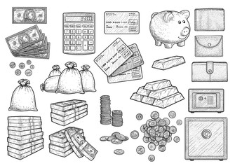Money accessories illustration, drawing, engraving, ink, line art, vector