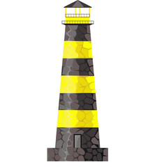 Yellow lighthouse on a white background