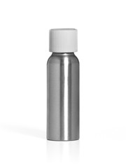 Isolated blank cosmetic silver bottle. with white cap on white background