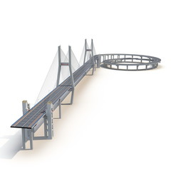Nanpu Bridge on white. 3D illustration