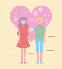 cute couple holding hands in love haert people cartoon vector illustration