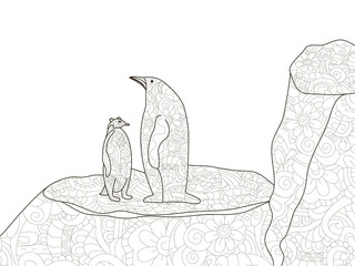 Penguin with a child in Antarctica. Anti stress coloring, vector for adults.