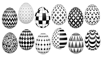 stylish set of Easter eggs with a geometric pattern