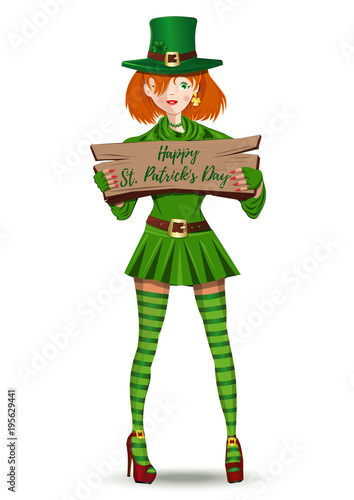 376ac5fbf leprechaun girl congratulates on St. Patricks Day. Red-haired Irish girl  with wooden plaque in hands. Happy St. Patrick's Day. Vector illustration