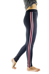 The legs of the girl with the pants for fitness.