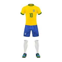 Vector realistic soccer uniform of a Brazil team, set of sports wear, shirt, shorts, socks and boots, isolated on background. Mockup of Brazilian football outfit in colors of national flag, front view